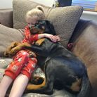 Ellie the Rottweiler pup, pictured snuggled up with Daisy Munday,5