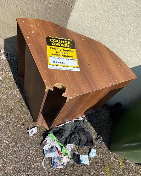 Flytipping in an alleway off Churchill Road in Great Yarmouth.