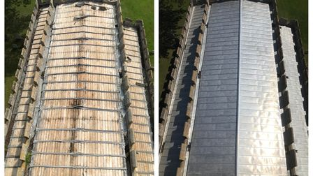 Whaddon church roof before and after