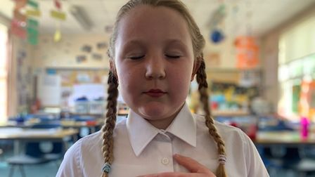 School girl practising mindfulness at Holbrook Primary School
