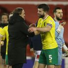 Norwich Head Coach Daniel Farke and Grant Hanley of Norwich at the end of the Sky Bet Championship m