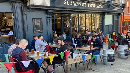 Customers enjoying a drink outside the St Andrews Brew House on Saturday afternoon