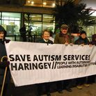 Save Autism Services Haringey protesters outside Haringey Civic Centre in Wood Green. Photo: Martin