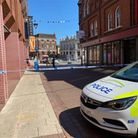 A police cordon is in place outside the former Debenhams store in Ipswich