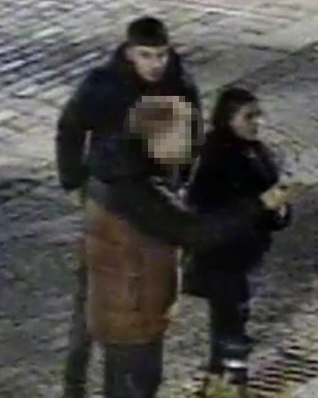 The people captured in this CCTV footage in Market place Hitchin are urged to get in contact with Herts police
