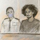 Court artist sketch by Elizabeth Cook of Danyal Hussein appearing in the dock at the Old Bailey, Lon