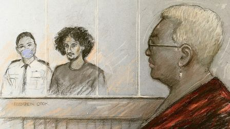 Court artist sketch by Elizabeth Cook of Mina Smallman, mother of the two victims looking on as Dany