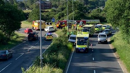 Emergency services on the A12 at Martlesham