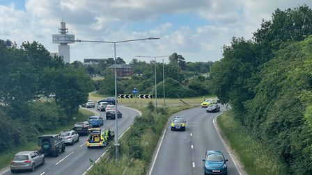 A car ended up on its side on the BT Roundabout at Martlesham