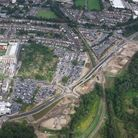An aerial view of the Watford Hospital site.