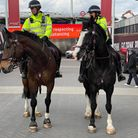 Mounted police officers in Wembley Park