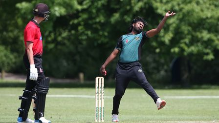 T Abbas in bowling action for Harold Wood during Hornchurch CC vs Harold Wood CC, Hamro Foundation E
