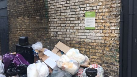 A pile of rubbish in Flask Walk