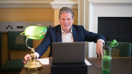 Labour leader Sir Keir Starmer holds an online phone-in with residents in Glasgow, as part of his 'C