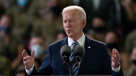 US President Joe Biden addresses US Air Force personnel at RAF Mildenhall in Suffolk, ahead of the G7 summit in Cornwall