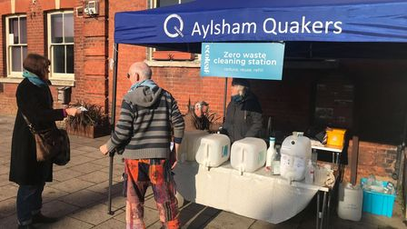 The Godwins' stall at Aylsham Farmers' Market, where people can refill their plastic bottles.