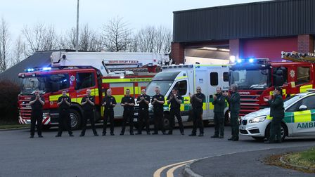 Fire and ambulance staff applauding local heroes during Thursday's nationwide Clap for Carers initia