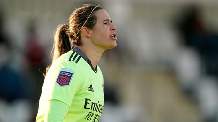 Arsenal's goalkeeper Lydia Williams during aWomen's Super League match at Meadow Park