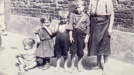 Children in the Bonny Downs area of East Ham circa 1900.