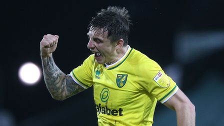 Jordan Hugill of Norwich celebrates scoring his side's 1st goal during the Sky Bet Championship ma