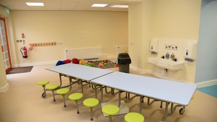 The after-school club kitchen and break area in the nursery