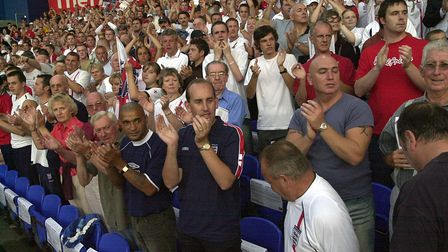 Excitement at the England v Croatia international football match at Portman Road in 2003