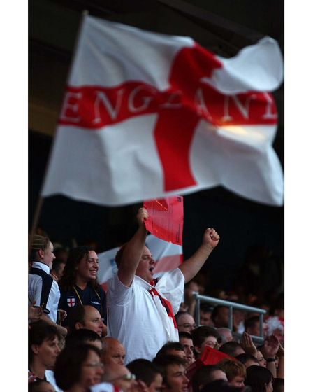 Waving a flag at the England v Croatia match in Ipswich in 2003