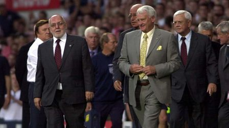 Sir Bobby Robson was guest of honour at the England v Croatia match at Portman Road in 2003