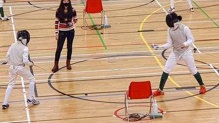 Jagroop Shergill (right) on his way to U12 gold at the Newham Junior Foil tournament