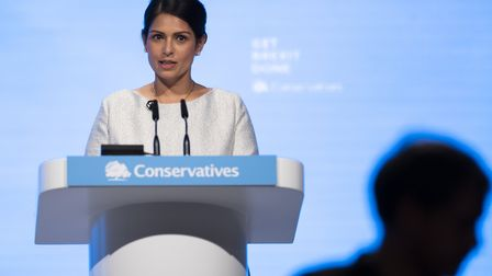 Home Secretary Priti Patel making her keynote speech at the Conservative Party Conference. Photograp