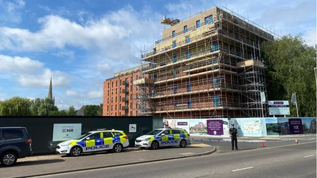 A police cordon is in place at St James' Quay in Barrack Street, Norwich.