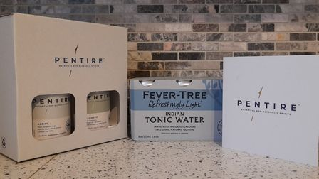 Two bottles of Pentire in a presentation box with a box of Fever Tree Tonic Water