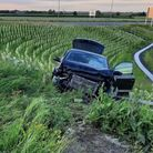 The car crashes into safety barriers afterdriving off the A1307 atSwavesey.
