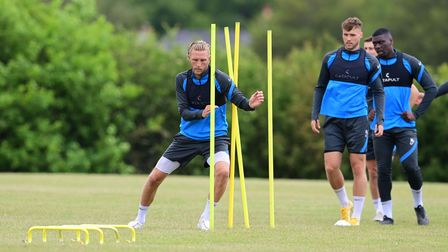 Dean Moxey of Torquay United training ahead of the semi final on Saturday at Seale Hayne training gr