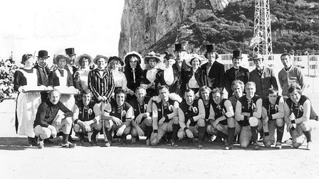 The Torbay Gentlemen pose for the television cameras before their match with Gibraltar Over-30s