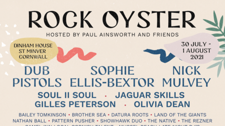A poster with the headliners for Rock Oyster 2021 listed