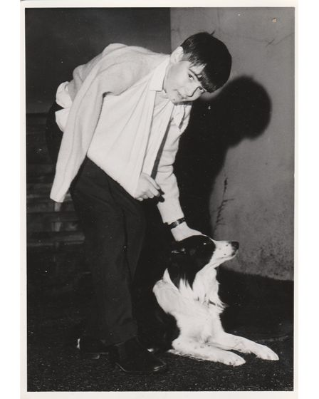 Old picture of boy and dog