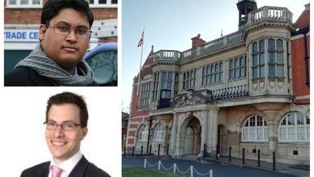 Cllrs Gabriel Rozenberg and Arjun Mittra and Hendon Town Hall
