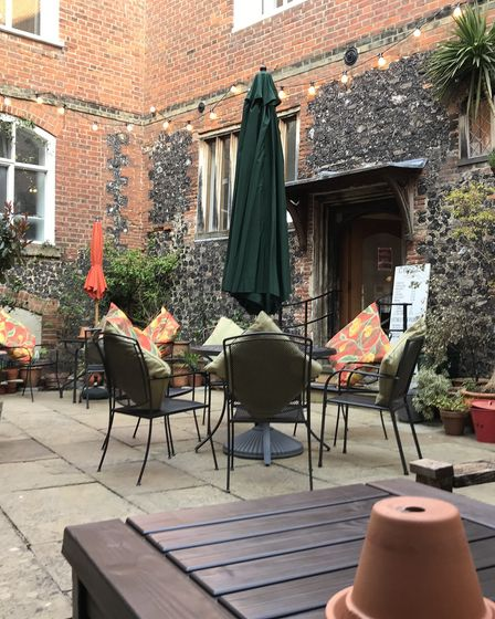The courtyard at The Merchant's House in Norwich.