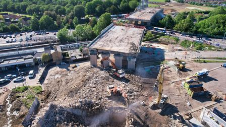 The demolition of theA14 Huntingdon viaductas it reaches thefinal stages.