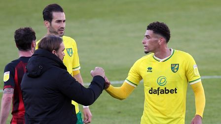 Norwich Head Coach Daniel Farke and Ben Godfrey of Norwich at the end of the Sky Bet Championship ma