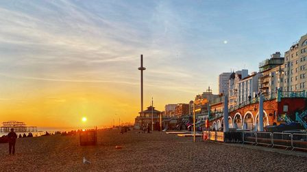 Magnificent sunset on Brighton Central Beach in East Sussex