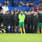Norwich players and management watch the penalty shootout at Stamford Bridge in January, 2018 Pictu