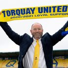 Gary Johnson Manager of Torquay United extends his contract at Plainmoor Torquay, Devon on Saturday