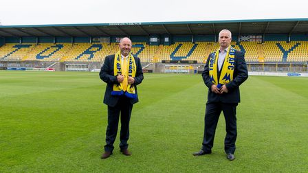 Gary Johnson, manager of Torquay United, with Torquay United chief executive officerGeorge Edwards at Plainmoor