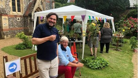 The Revd James Stewart during the plant sale at Thorpe St Andrew Parish Church