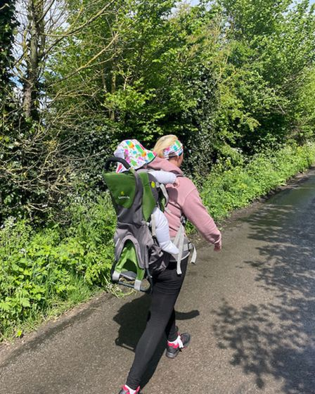 Rebecca Roberts and baby son George from Ipswich walked a total of 100 miles for the Miscarriage Association