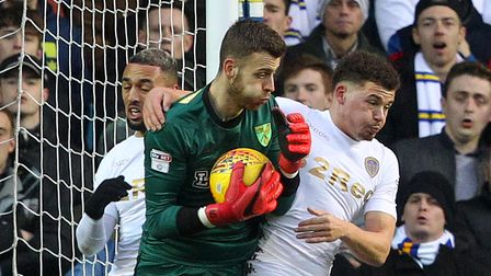 Angus Gunn of Norwich in action during the Sky Bet Championship match at Elland Road, Leeds Picture