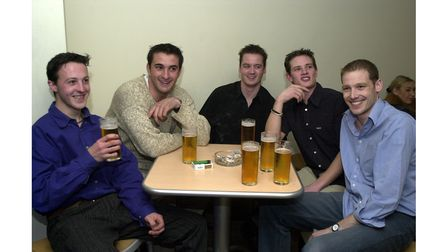 Friends having a drink at the Curve Bar in Ipswich in 2002