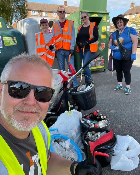 Jason Alexander with the Chantry Wombles during the Suffolk Clean Sweep campaign